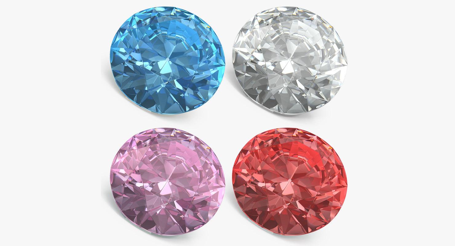 3D model cut diamonds set