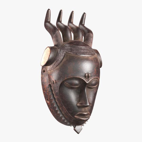 3D african mask baule