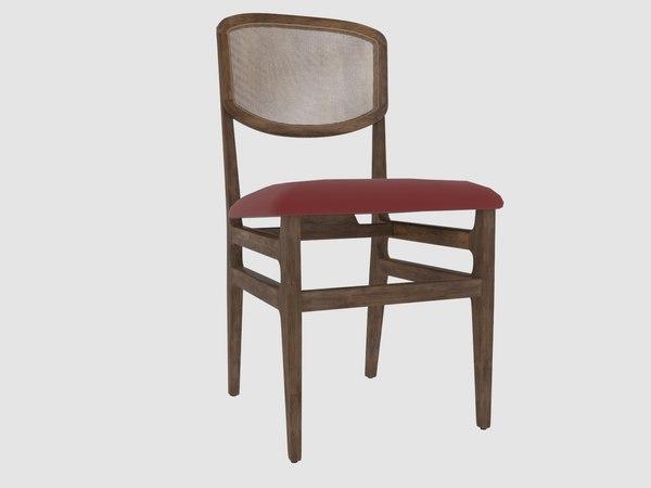 3D comporta 2 chair branco