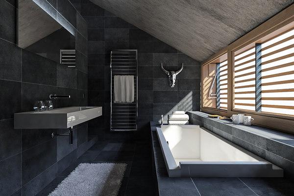 3D model scene modern bathroom interior