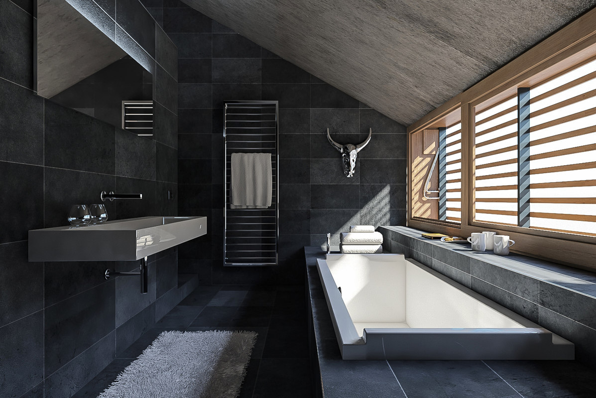 3D model scene modern bathroom interior
