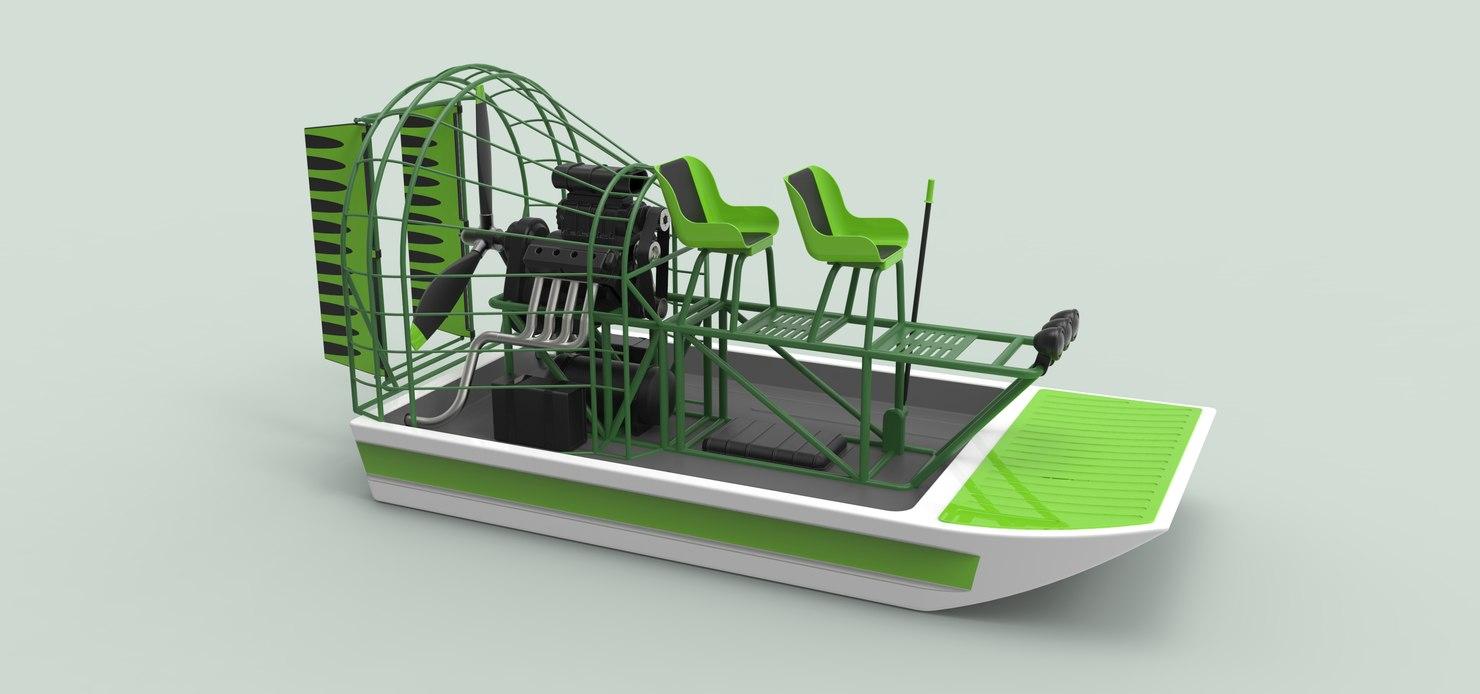 3D model airboat transportation