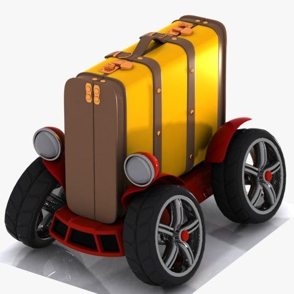 3D baggage car toon model