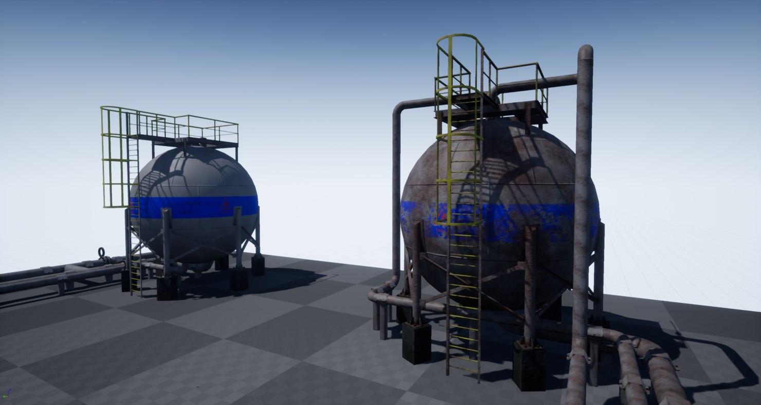 pbr industrial spherical tanks 3D model
