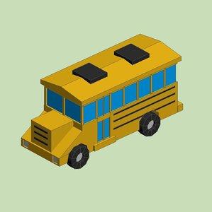 yellow school bus 3D model