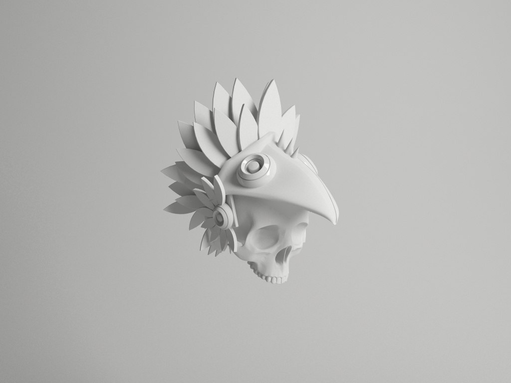 3D skull eagle warrior model