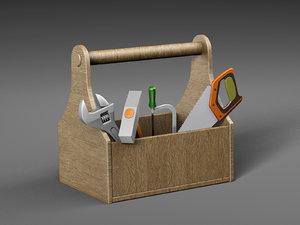 wooden toolbox tools 3D model