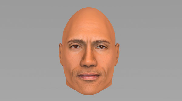 head dwayne rock johnson 3D model