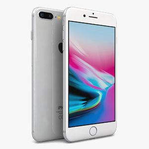 3D apple iphone 8 silver model