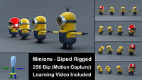 4 Minions 3D Models with Biped and Learning Video