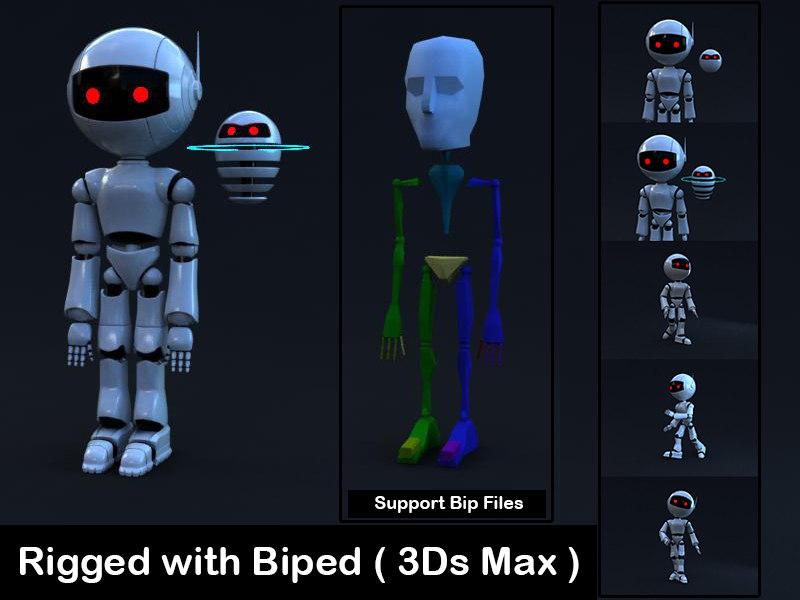 robot rigged biped 3D model