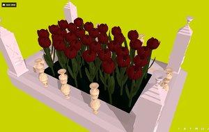 - flowers flowerbed red model