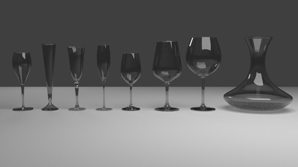3D set wine glass decanter model