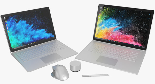 3D realistic microsoft surface book model