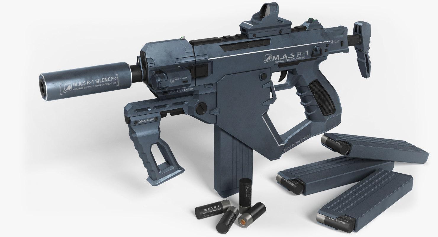 3D model r1 automatic shotgun mas