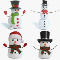 3D set snowman model