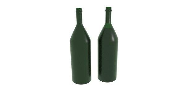 3D champagne bottle model