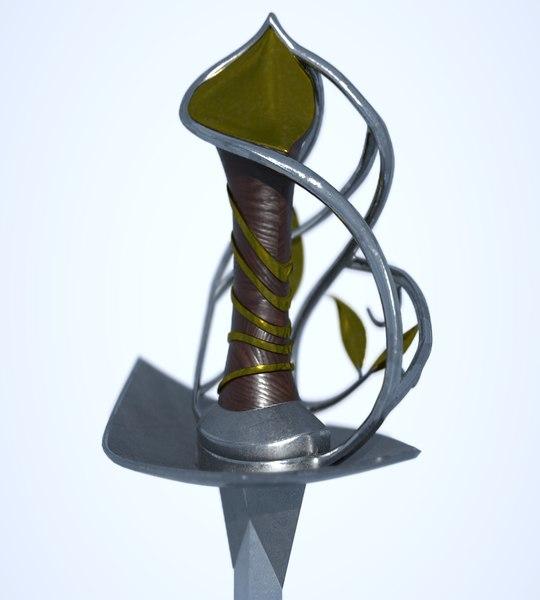 3D model elven sword