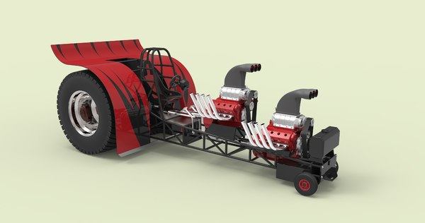3D tractor pulling model