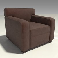 brown fabric lounge chair 3D