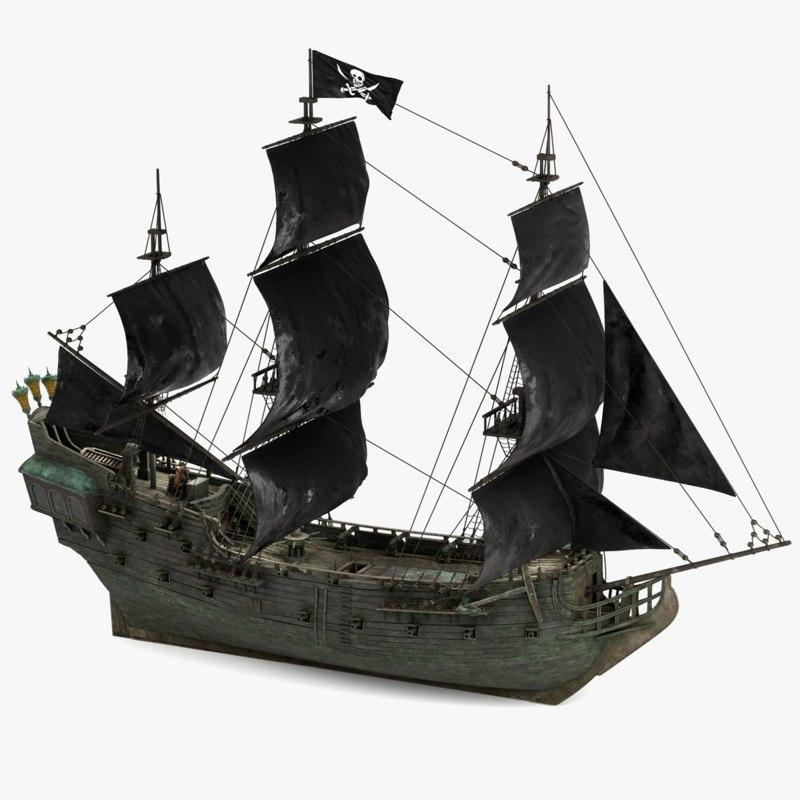 3d Black Pearl Pirates Model Turbosquid 1220647