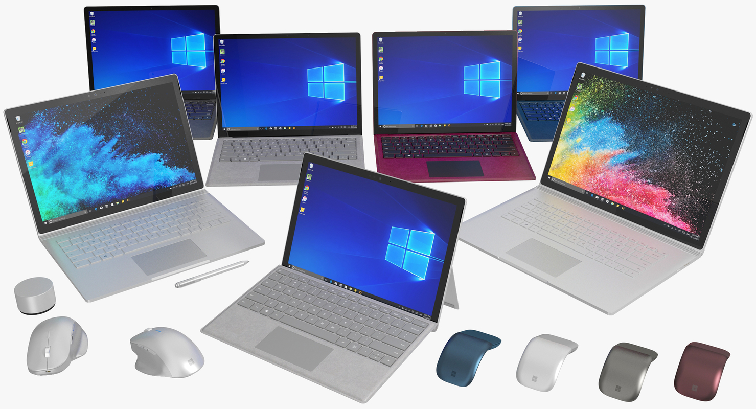 realistic microsoft surface family 3D model