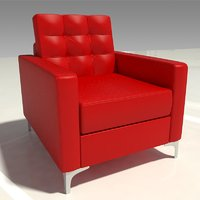 red leather lounge chair 3D