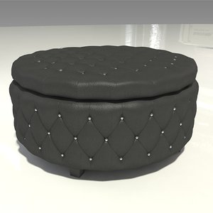 black leather tufted ottoman 3D