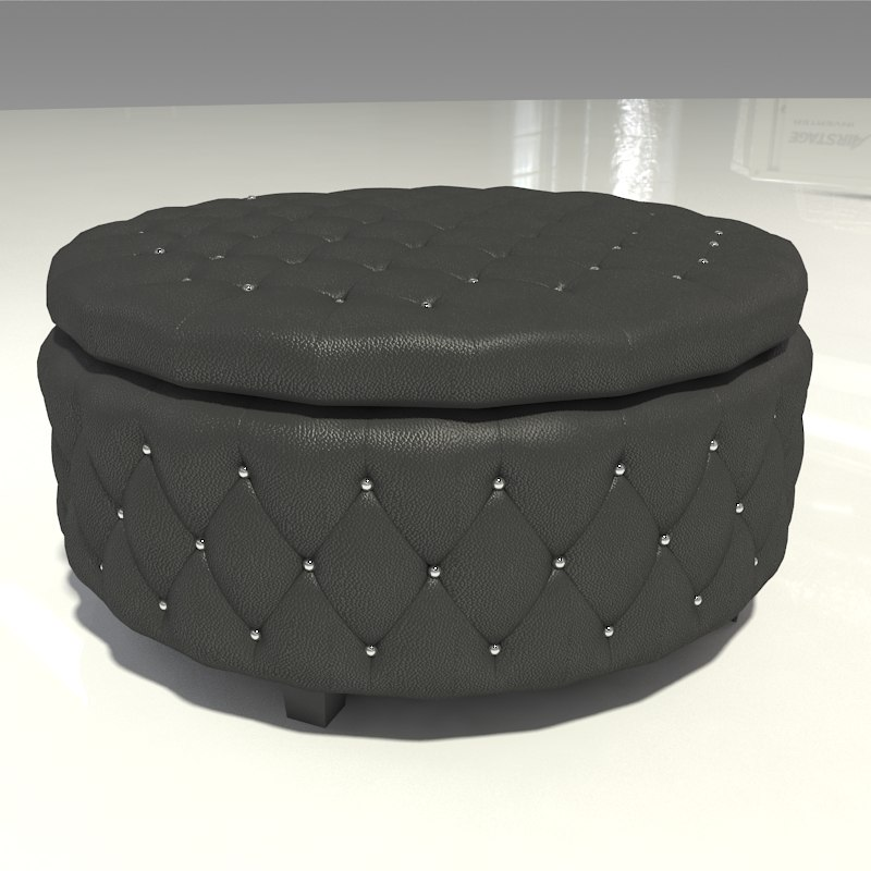 Black Leather Tufted Ottoman 3d Turbosquid 1220706
