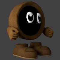 little hooded character cartoon 3D model