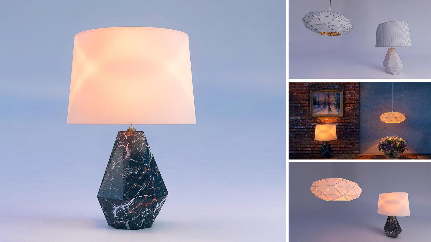table ceiling lamp lights 3D model