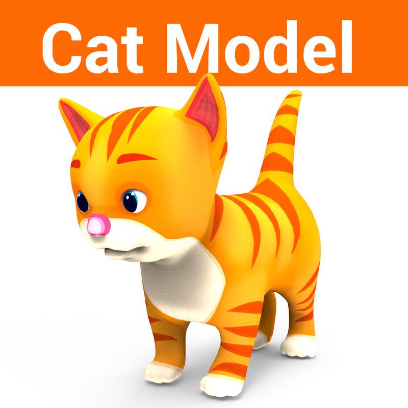 cute cartoon cat 3D model