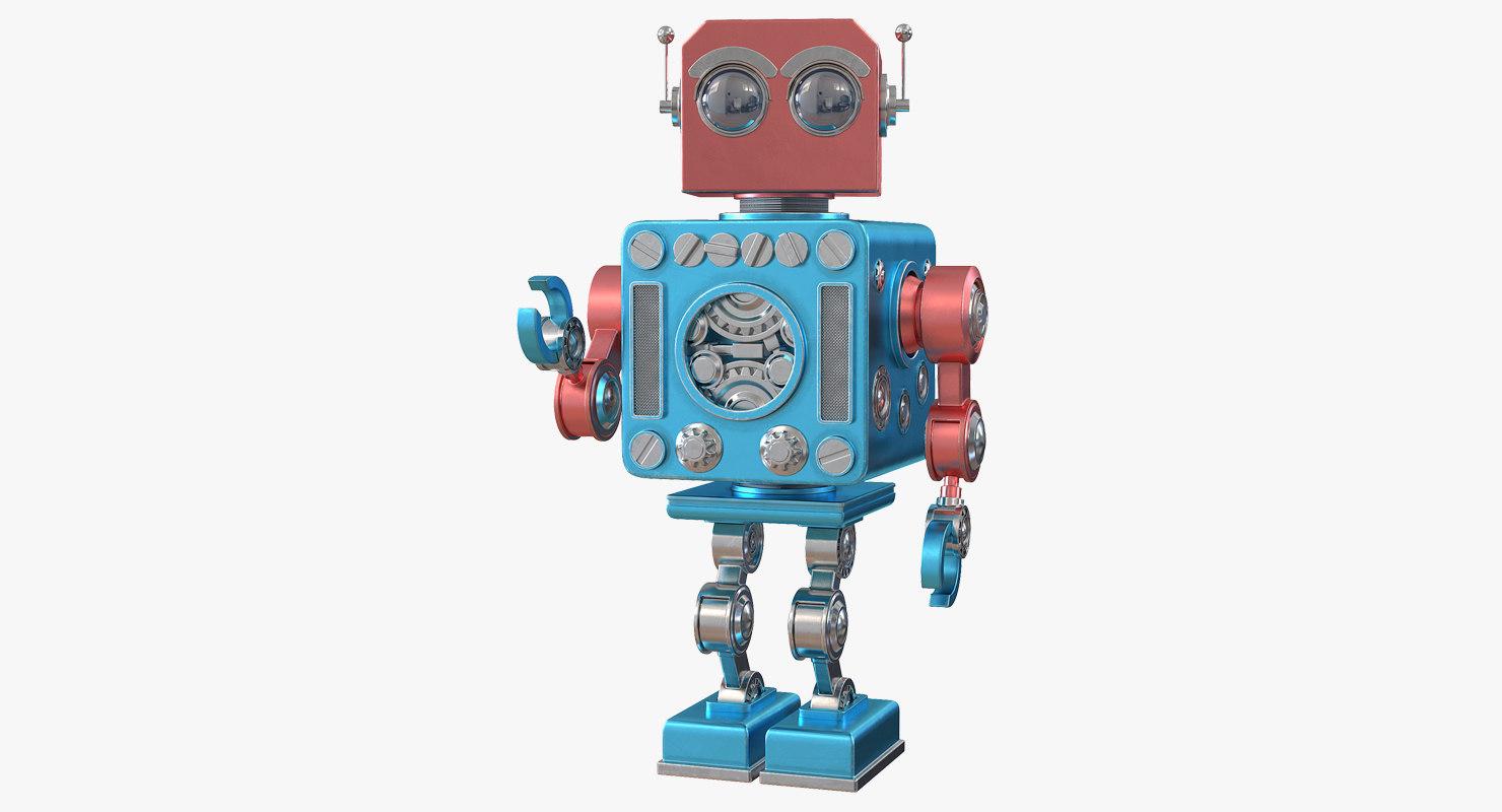 3D model retro robot toy