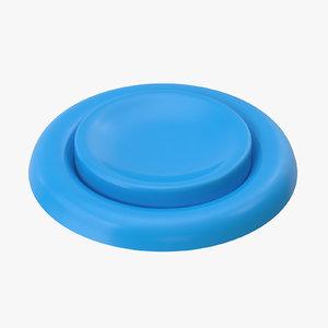 3D model button 04 blue
