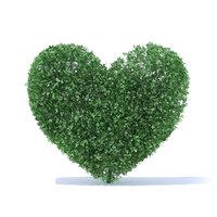 heart shaped shrub 3D model