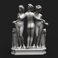 graces neoclassical sculpture 3D model