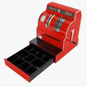 3D model retro cash register