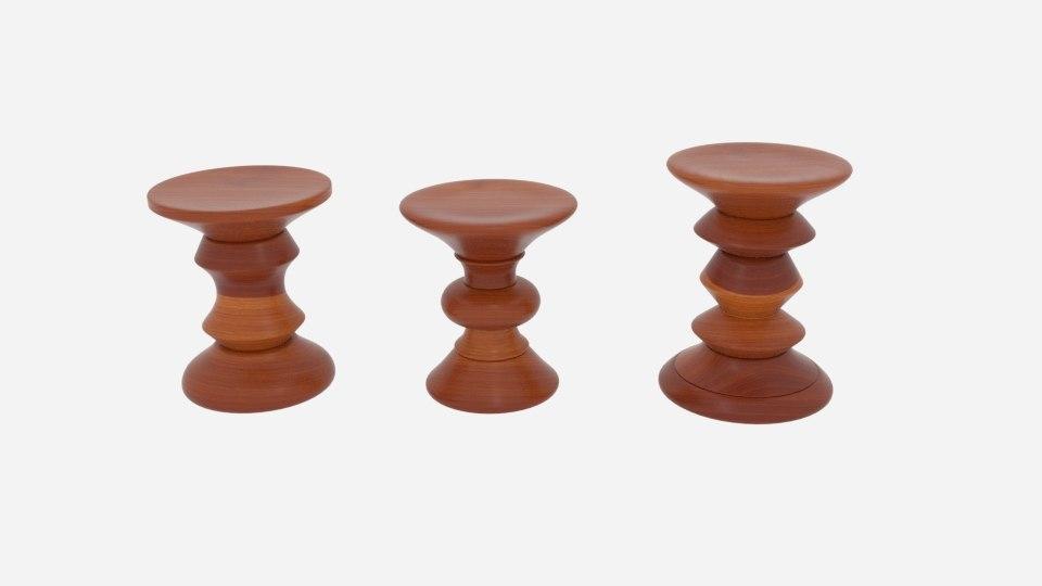 3D eamesreg walnut stool