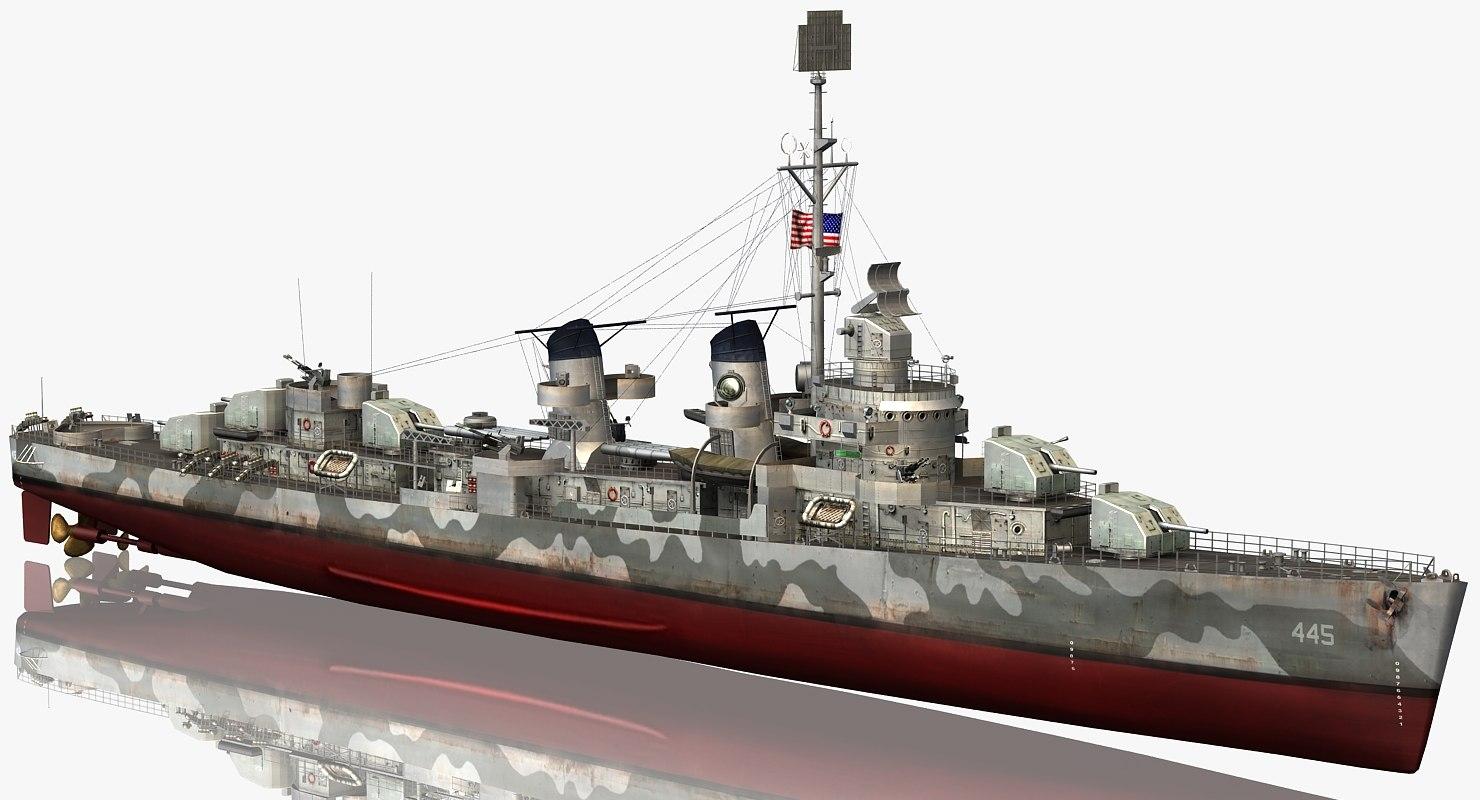 uss fletcher class destroyer model