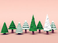 Set of coniferous trees