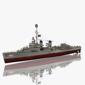 uss fletcher class destroyer 3D