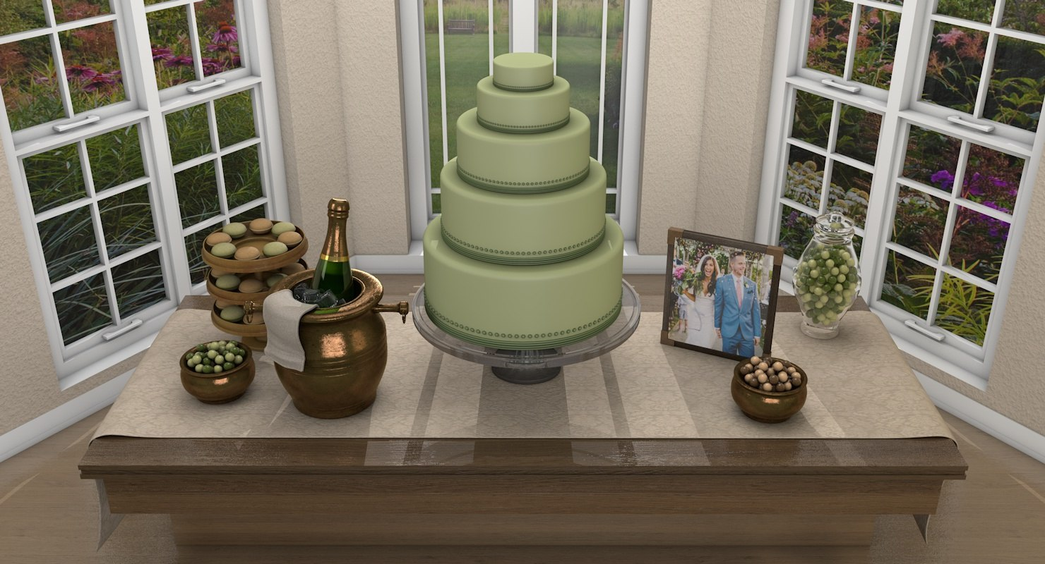 wedding dessert table 3D model