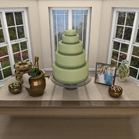 wedding dessert table 3D model