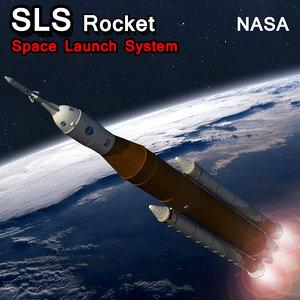 sls rocket space launch 3D