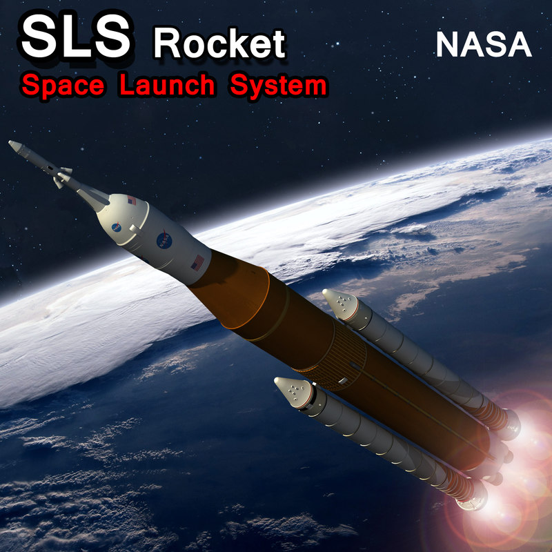 sls rocket space launch 3D