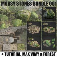mossy stones 001 3D model
