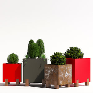 metal stilt planter 3D model