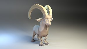 goat rigged shaded 3D model