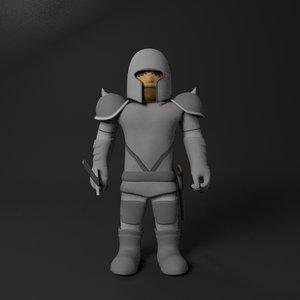 cartoon warrior 3D model