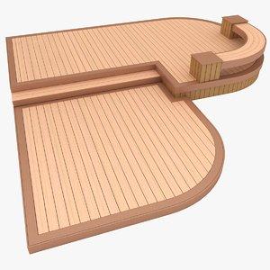 realistic wooden terrace 3D